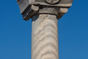 View over the roman pillars in the ruins of Ephesus, Selcuk, Izmir, Turkey ,beautiful blue sky