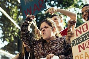 Angry teen girl protesting