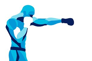 Stylized illustration boxer sport