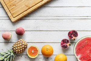 Tropical citrus fruits background