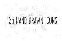 25 Hand drawn icons.