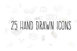 25 Hand drawn icons.
