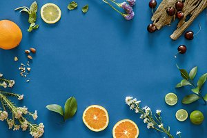 Tropical citrus fruits background