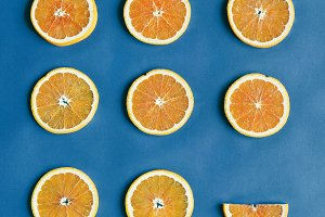 Aerial view of colorful citrus slice