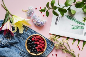 Fresh summer berries and flowers