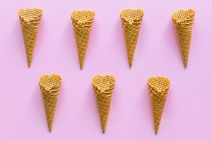 Aerial view of ice cream waffle cone