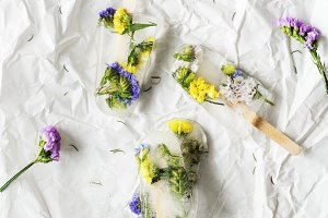 Homemade summer wildflower ice pop