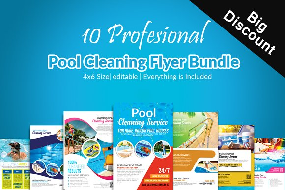 10 Pool Cleaning Flyers Bundle