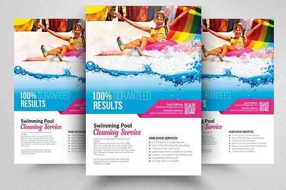10 pool cleaning flyers bundle flyer templates creative market
