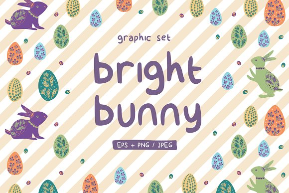 Bright Bunny Easter Graphic Set