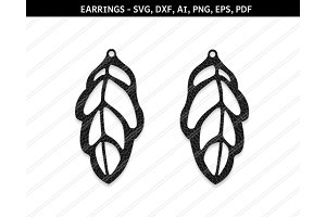 Leaf earrings svg,dxf,ai,eps,png