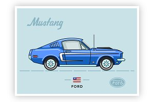Vintage vector Ford Mustang