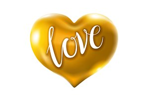 Big golden heart vector love