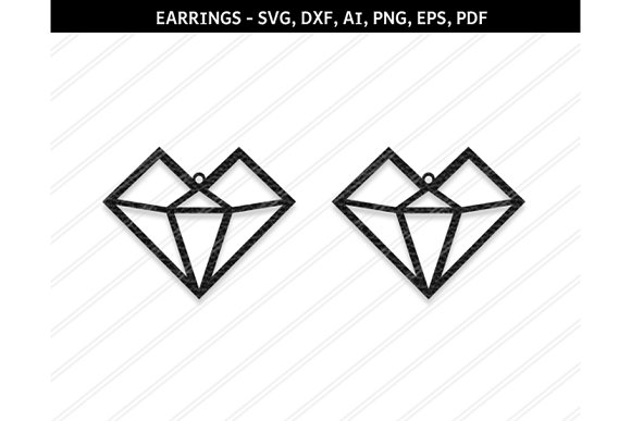 Heart Earrings Svg Dxf Ai Eps Png