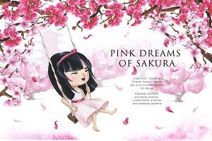 Pink Dreams of Sakura-watercolor set