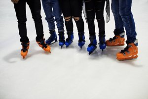 Feet closeup of group of friends