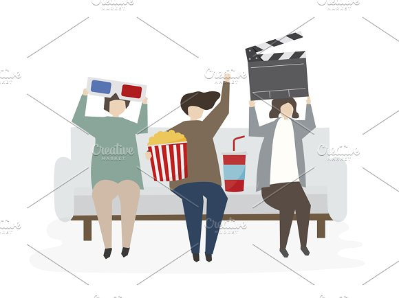 Illustration Of People Watch Movie