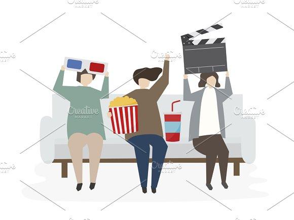 Illustration Of People Watch Movie