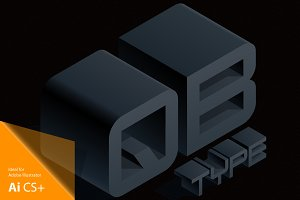 Vector 3D isometric black letters