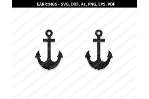 Anchor earrings svg,dxf,ai,eps,png