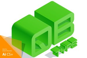 Vector 3D isometric green letters