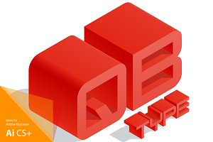 Vector 3D isometric red letters