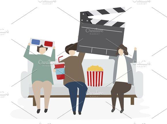 Illustration Of Friends Watch Movie