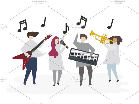 Illustration Of Friends Play Music