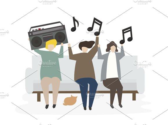 Illustration Of Listening To Music