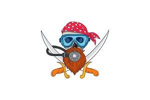 Pirate Skull Beard Diving Mask Drawi