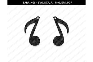 Music note earrings svg,dxf,ai,eps