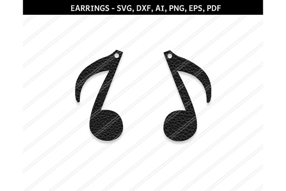 Music Note Earrings Svg Dxf Ai Eps