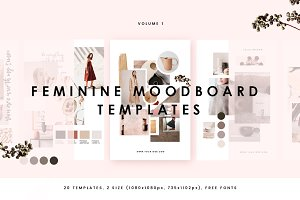 Feminine Mood board Templates