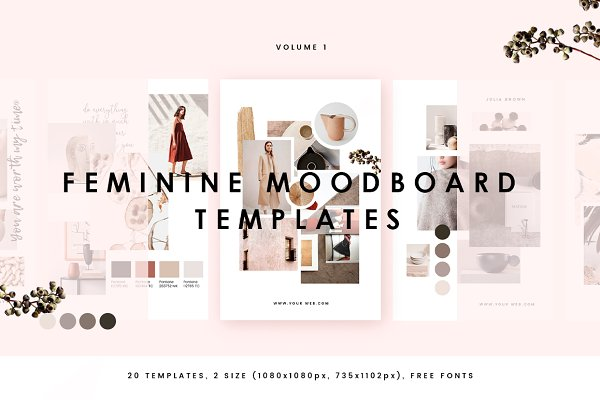 Web Elements: William Hansen - Feminine Mood board Templates