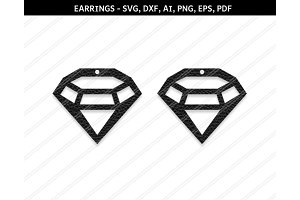 Diamond earrings svg,dxf,ai,eps,png