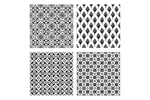 Tribal seamless black pattern set