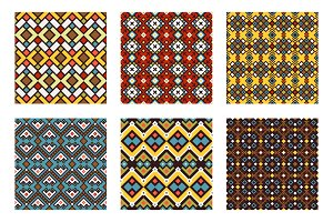 Tribal ornament colored pattern set