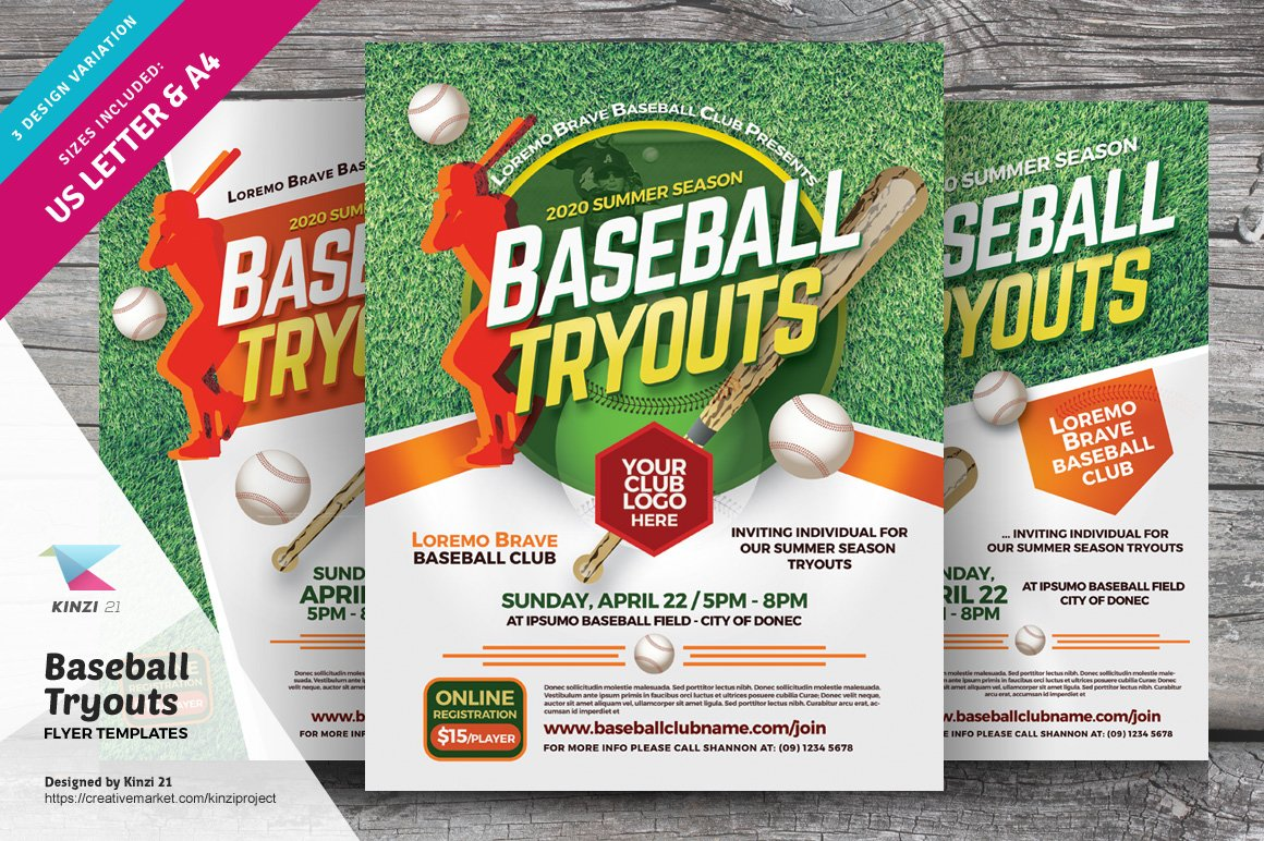 baseball tryouts flyer templates flyer templates creative market