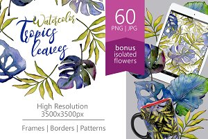Tropics leaves PNG watercolor set