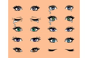 Cartoon pop art female eyes
