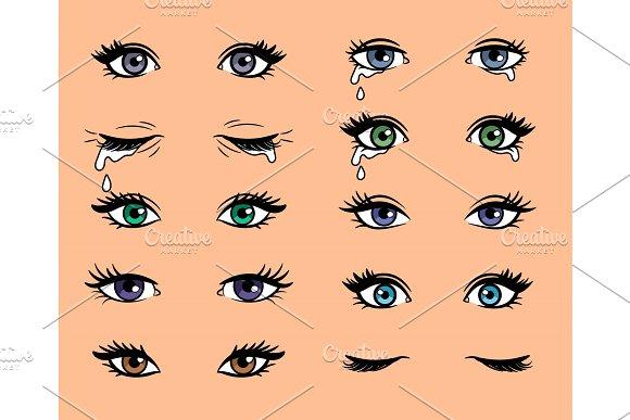 Cartoon Pop Art Female Eyes