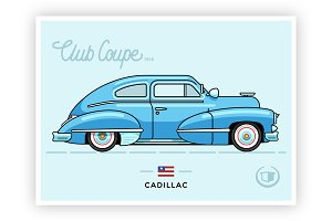 Vintage vector Cadillac Club Coupe