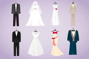 Wedding Dresses and Costumes Vector