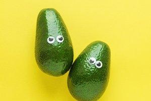 Two funny avocado