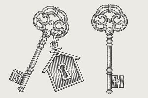 Ornamental vintage keys