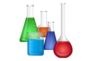 Set of chemical flasks with colorful fluids, erlenmeyer conical, flat-bottomed