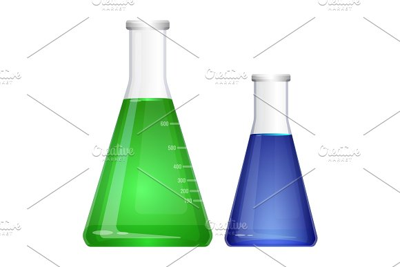 Laboratory flask with narrow neck. Blue green liquids in flasks