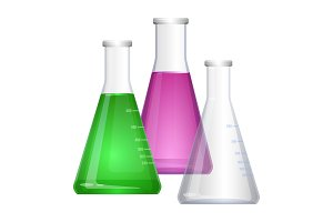 Erlenmeyer conical, flat-bottomed laboratory flask with narrow neck