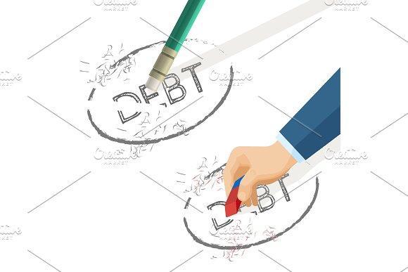 Person erase word debt written on paper, vector illustration in Illustrations