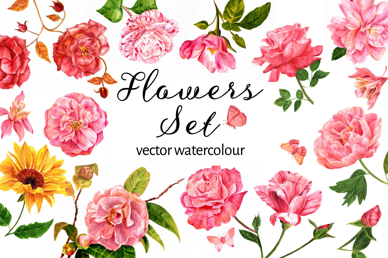Download Vector Watercolour Flowers Set ~ Illustrations ~ Creative ...
